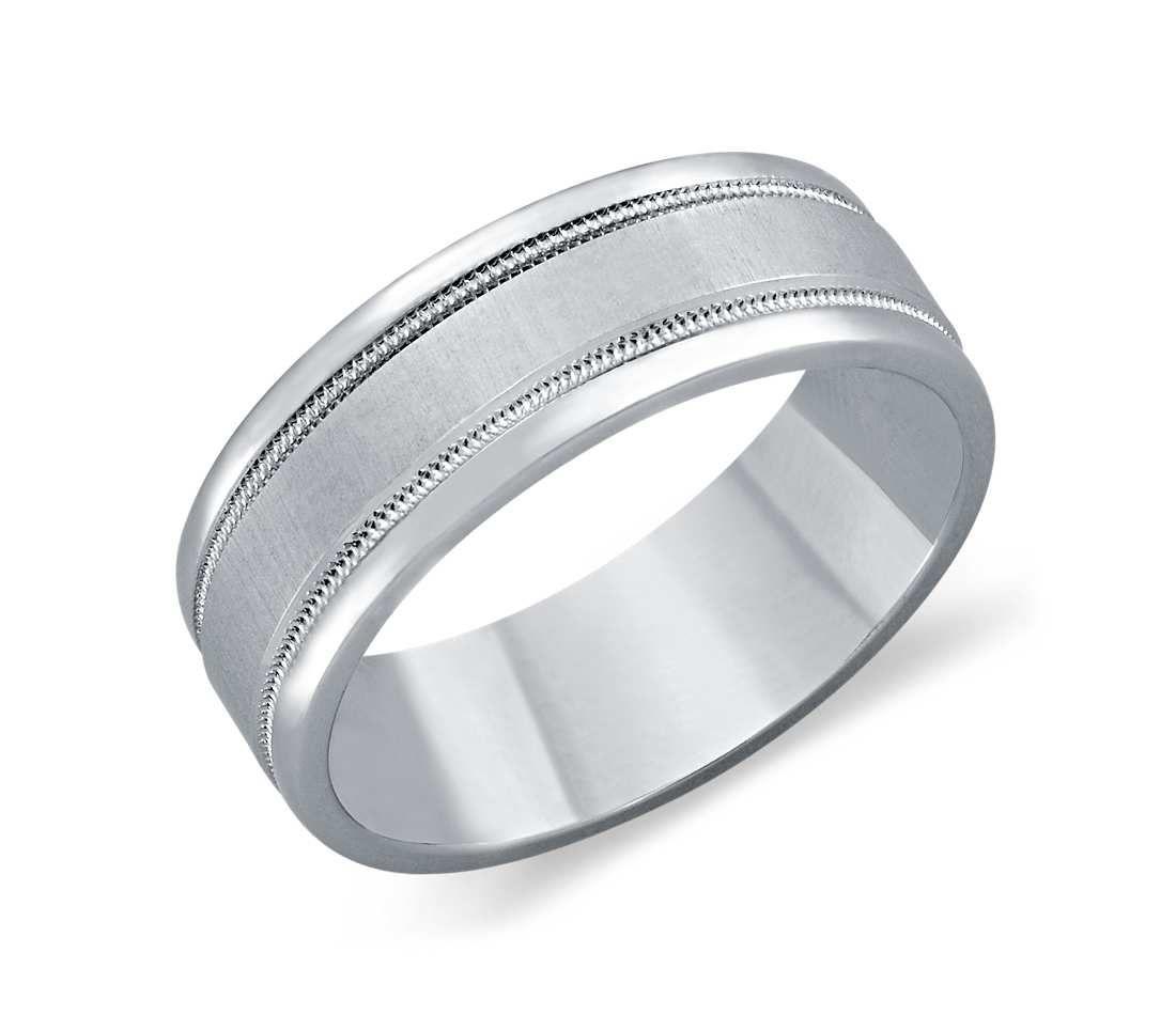 Milgrain Wedding Ring In Platinum 7mm