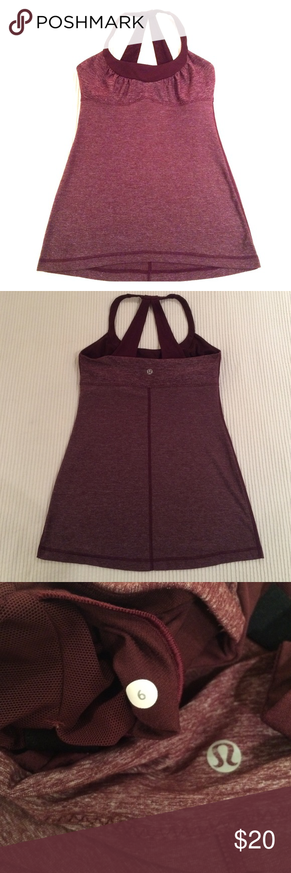 Lululemon tank Cute tank with adjustable shelf bra (see last photo). In excellent condition. Color is a heathered cranberry. lululemon athletica Tops Tank Tops