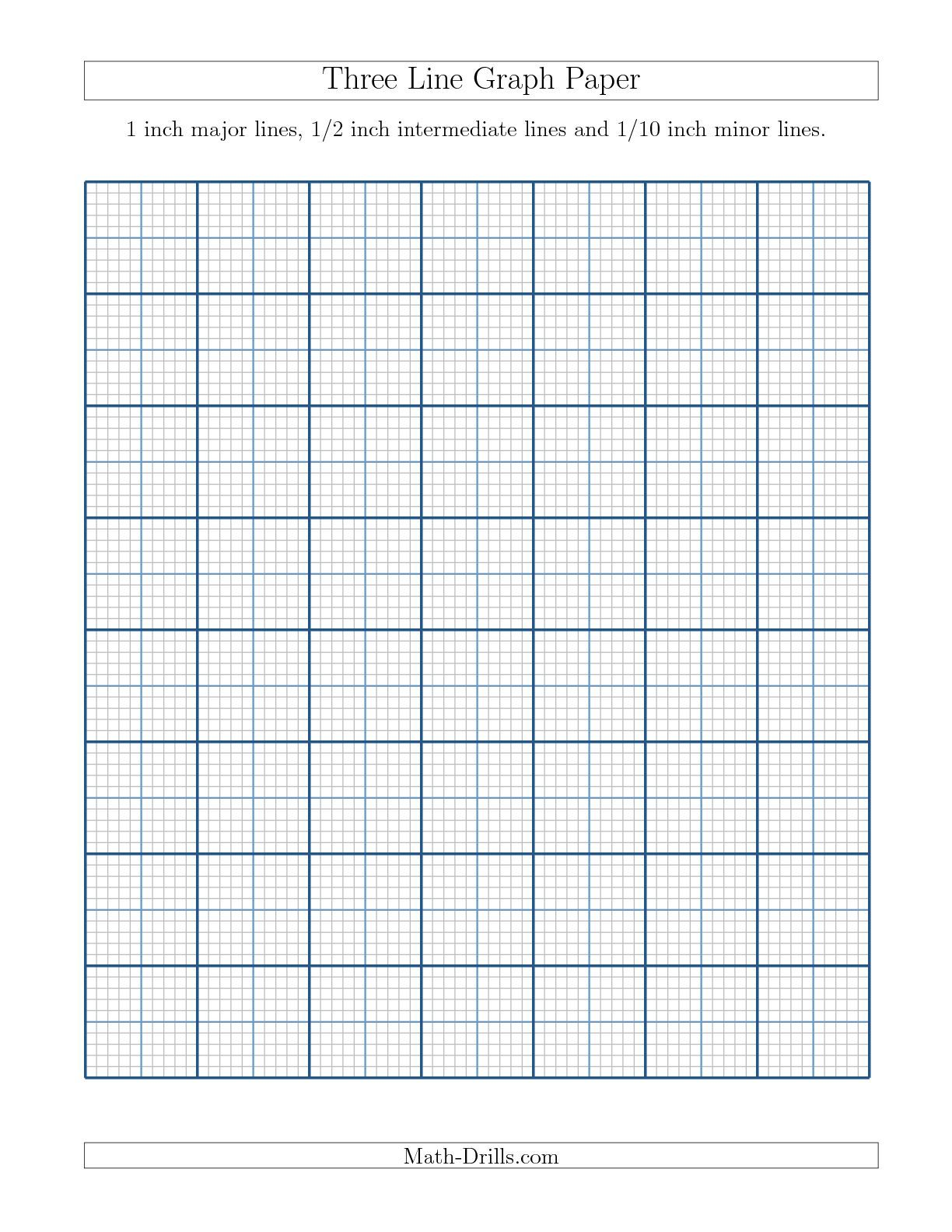 New 09 17 Three Line Graph Paper With 1 Inch Major Lines 1 2 Inch Intermediate Lines And