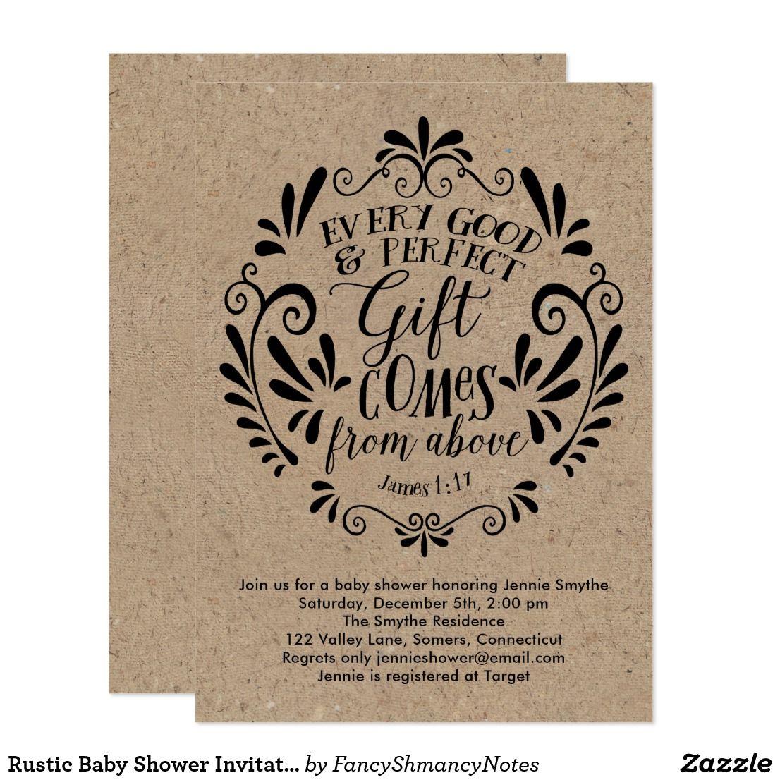 Rustic Baby Shower Invitation, Typography on Kraft Card | Rustic ...
