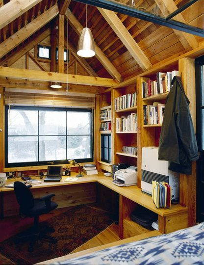 Writers' Small Writing Sheds and Off-the-Grid Huts Michael Pollan's writing shed.  Pretty cool space.  I like the roof and how much space it seems to create.  The simple desk space and bookshelves add to the rustic feel of the office.  I like it.Michael Pollan's writing shed.  Pretty cool space.  I like the roof and how much space it seems to create.  T...