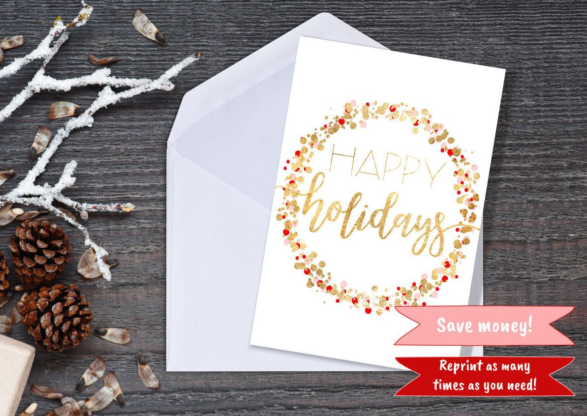 Happy Holidays Printable Faux Gold Christmas Holiday Greeting Card