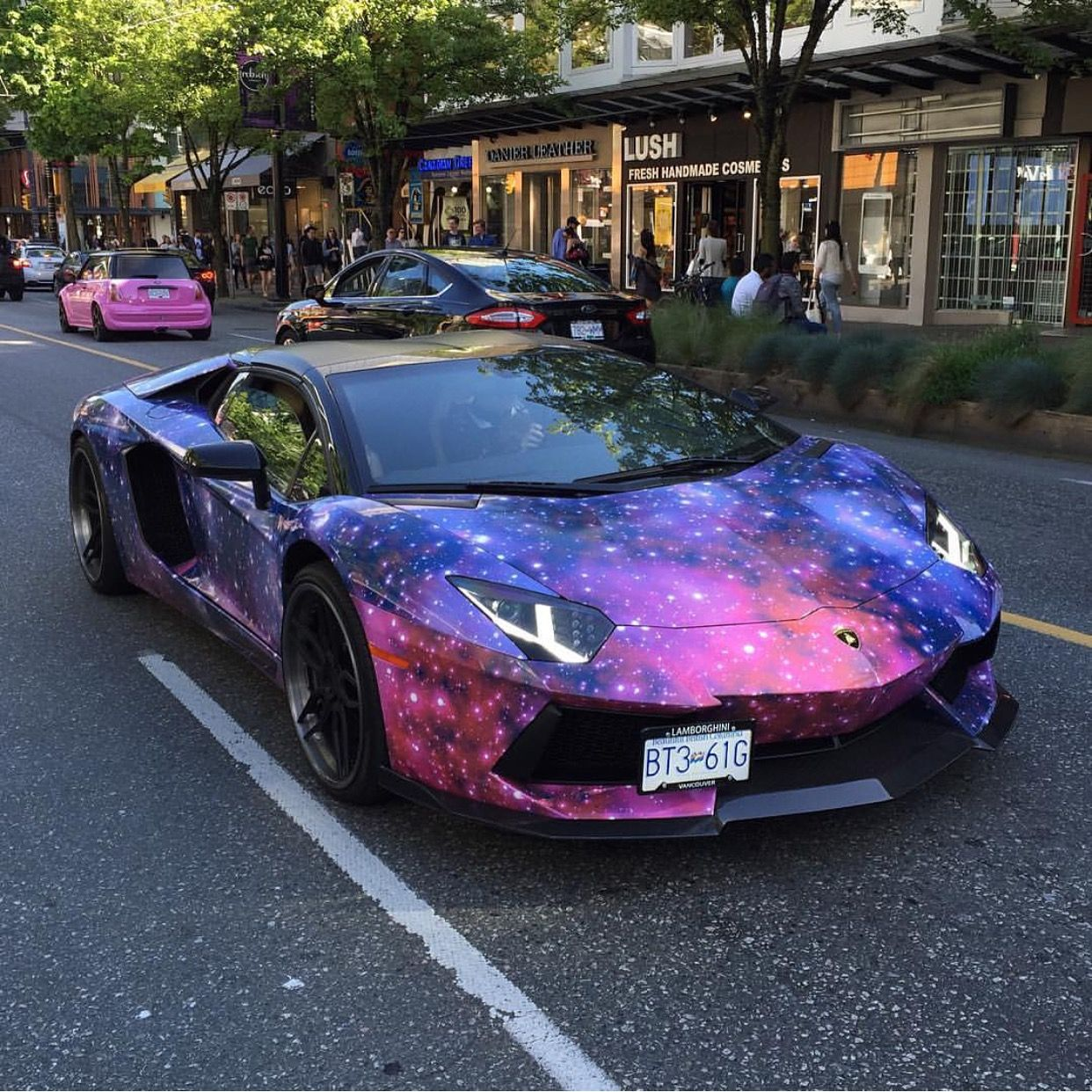 Lamborghini Aventador Roadster Wrapped In A Galaxy Wrap W A Set Of