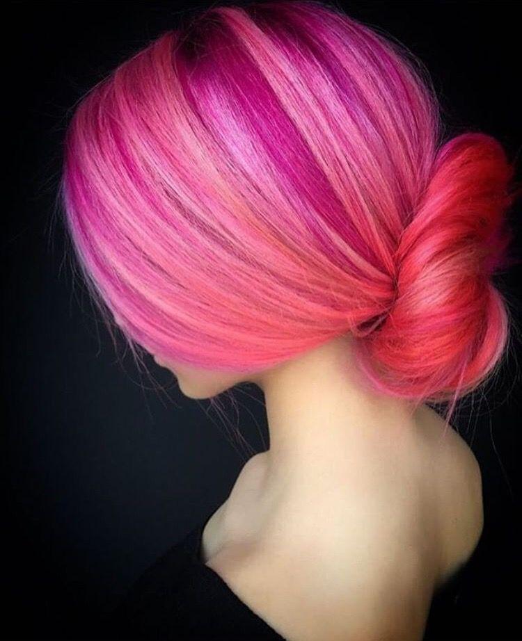 Hair Colour Multi Colour Tones Raspberry Pink Peachy Pink