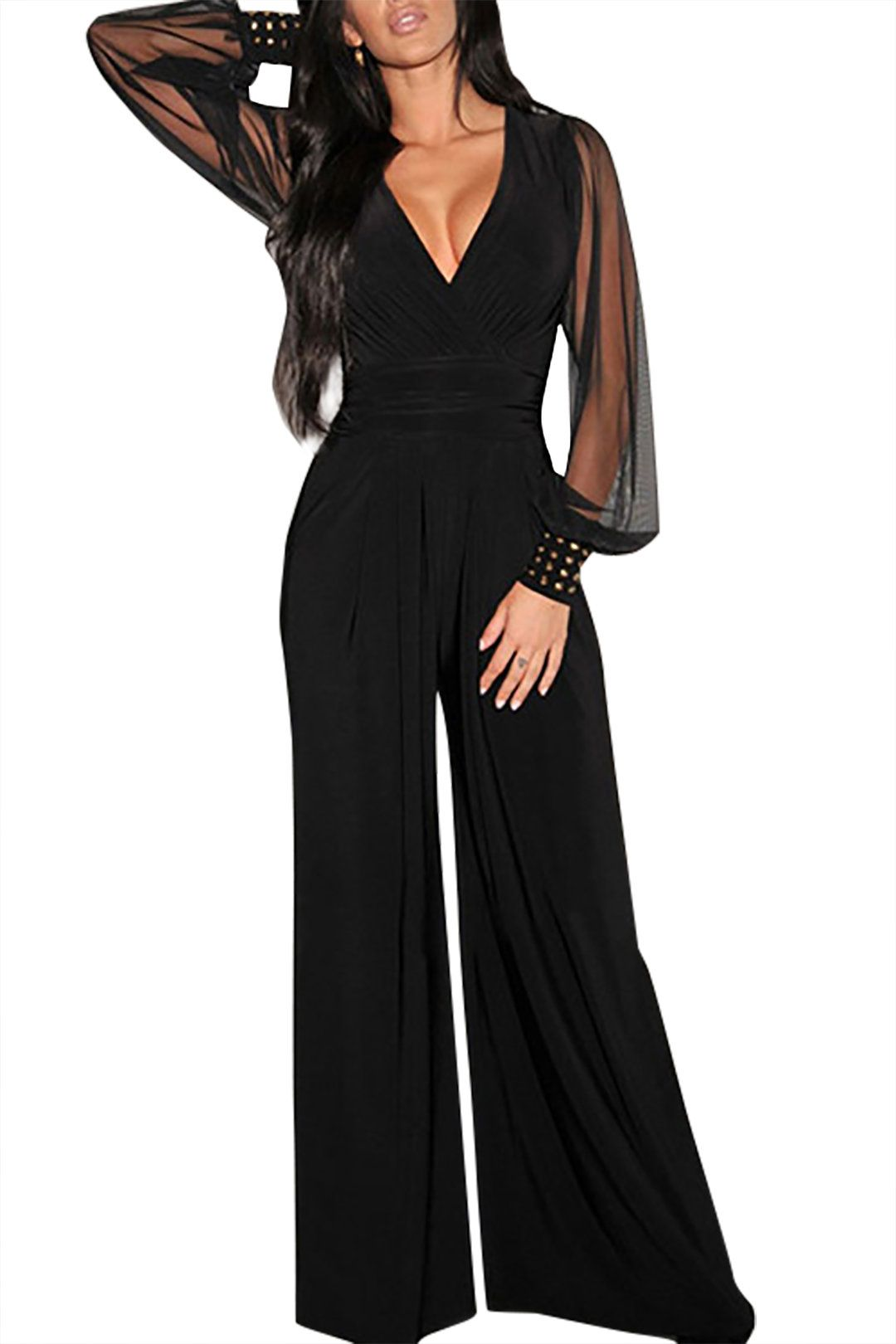 819bc7bd3924 Black Beading Long Sleeves V-neck Wide Leg Trousers Jumpsuit - US ...
