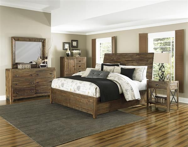 River Road Distressed Natural Wood Glass 5pc Bedroom Set w/Queen Bed