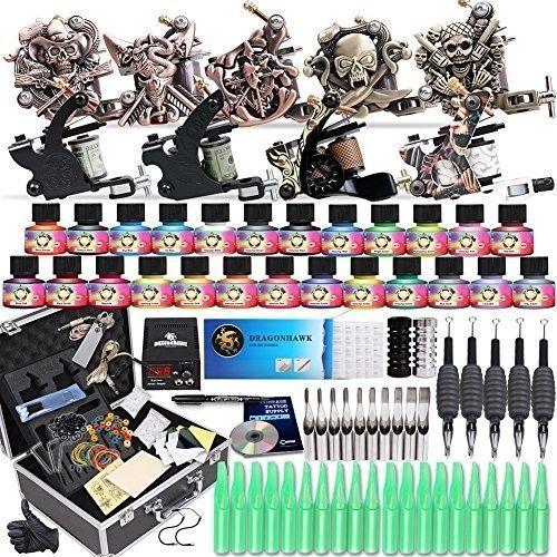 US $119.46 #professionaltattoo #beginner Pro Starter Tattoo Kit Complete Set Vegan Ink 24 Colors 50 Needles Machine Power