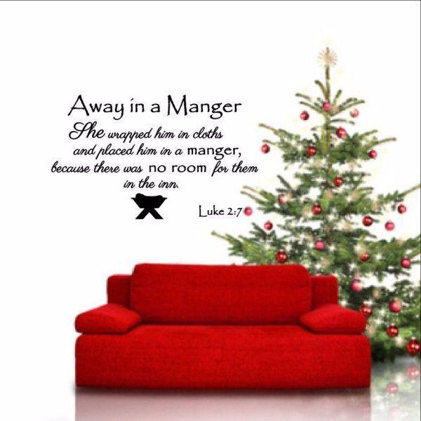 Away In A Manger Removable Vinyl Wall Decal Luke Bible Verse - Custom vinyl wall decals christmas