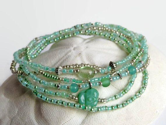 6 semi di perle bracciali menta verde boho chic di xEsFunThings