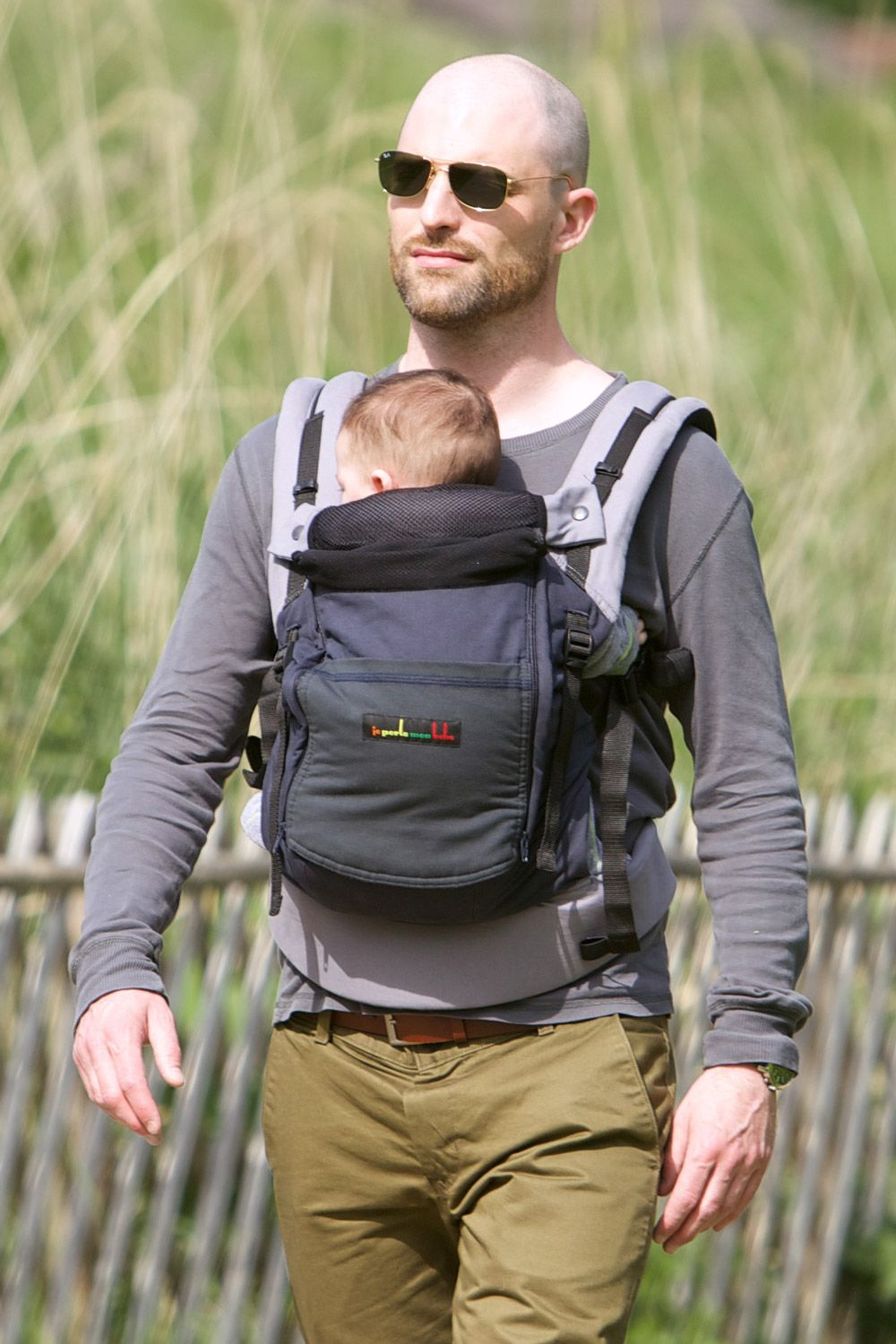 3e3f5cca23e7 Physiological babycarrier JPMBB - walk in nature - color grey blue and grey  green - Man