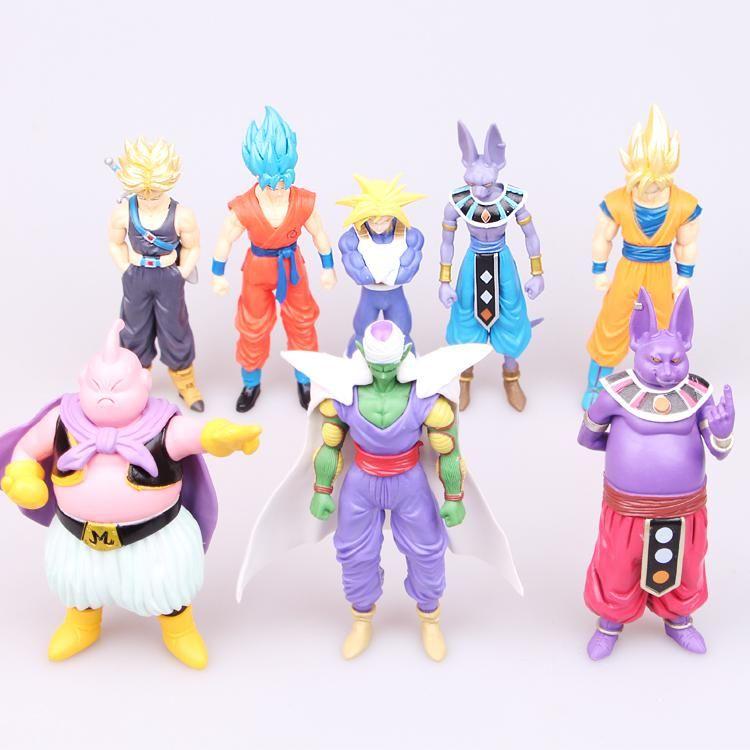 8pcs//set Dragon Ball Z Figures Anime Son Gokou Bulma Videl PVC Model Toy In Box
