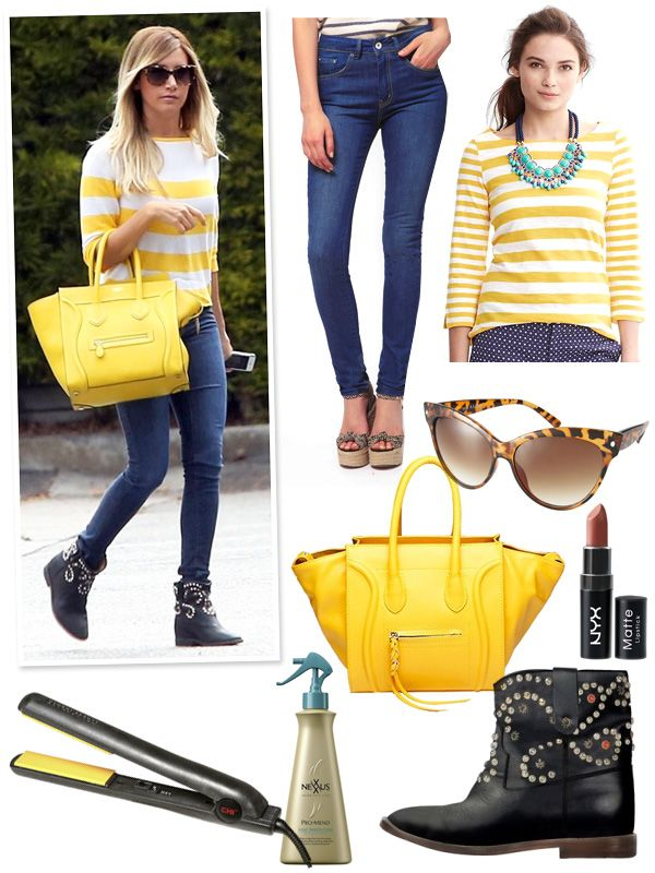 Celebrity Look 4 Less – Ashley Tisdale's Yellow Stripe Top, Céline Boston Bag & Isabel Marant Booties