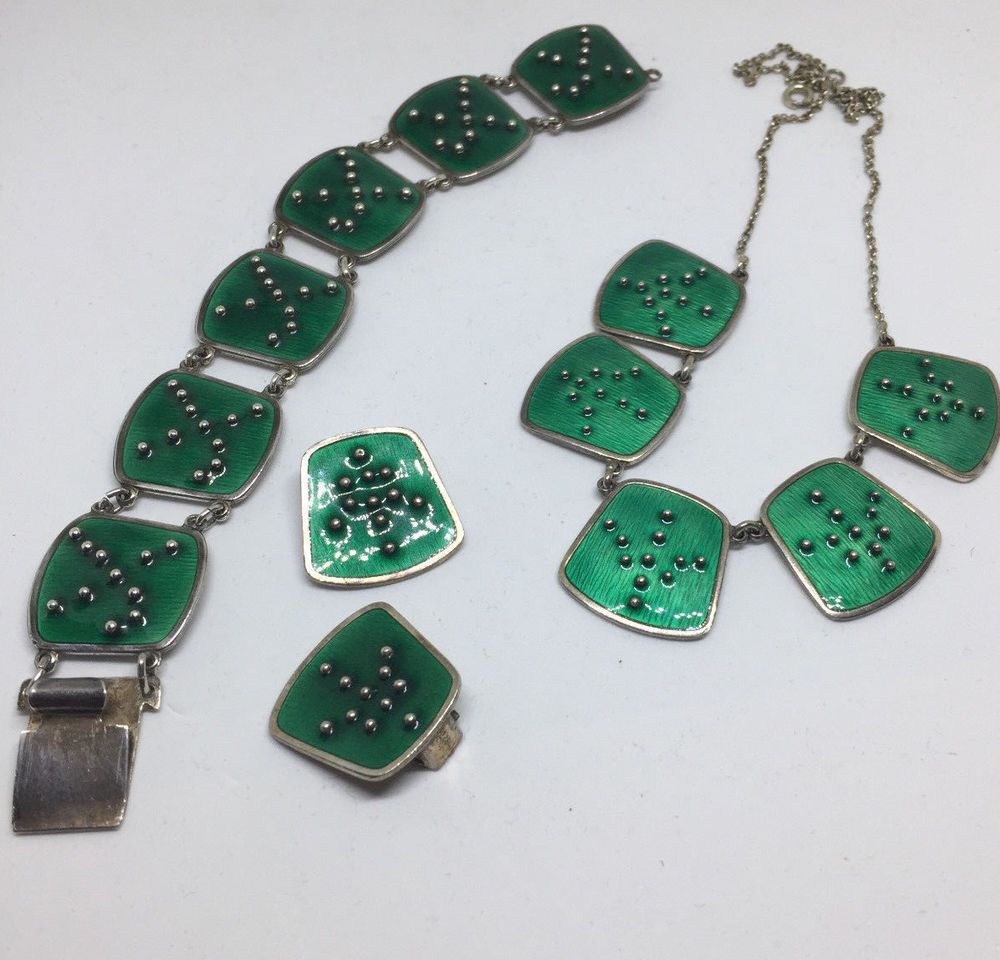 Alysson Sterling k.a rasmussen sterling silver enamel necklace, bracelet and