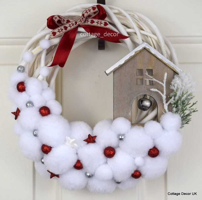 Photo of BLIZZARD POMPON XMAS CHRISTMAS WREATH WHITE RED HANDMADE SHABBY CHIC COUNTRY in …