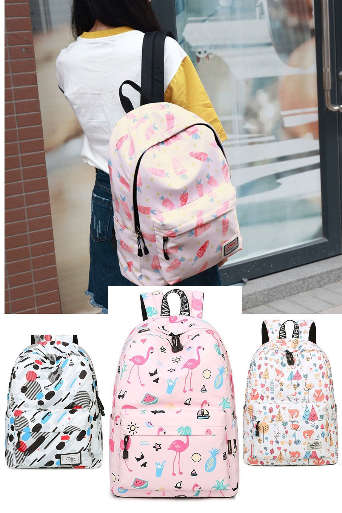 553f7e52ce7a Lovely Fruit Cute Animal Vegetable Carrot Painting Canvas School Backpack  for Girls school bags for college