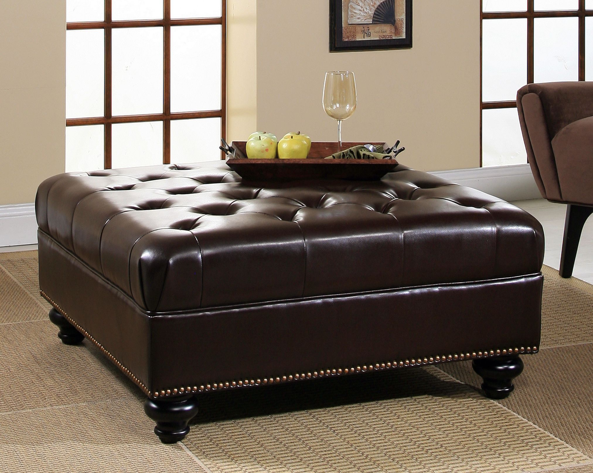 Square Leather Storage Ottoman Coffee Table Living Room