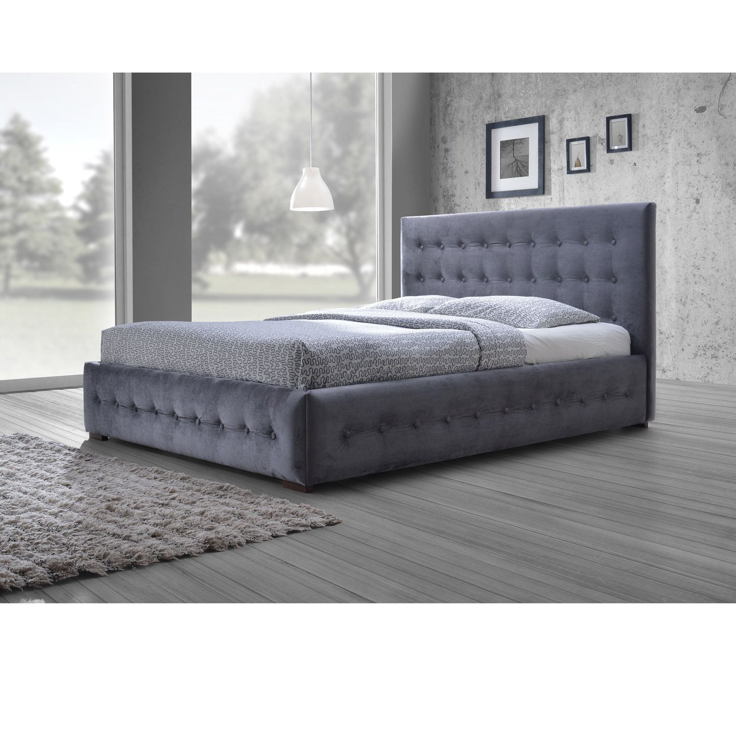 Baxton Studio Pittman Contemporary Grey Fabric Upholstered Platform Bed  With Button Tufted And Winged Headboard