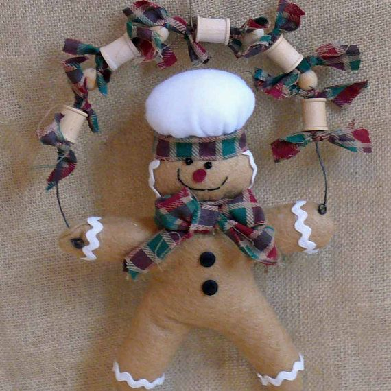 Fabric Gingerbread Man Ornament by SnowmanCollector on Etsy,