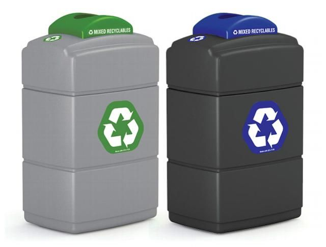 40 Gallon Plastic Waste Containers With Recycling Top With Images Recycling Containers Recycling Commercial Recycling Bins