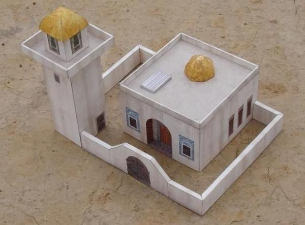 Desert Mosque With Minaret Paper Model - by Paper Tiger Armaments