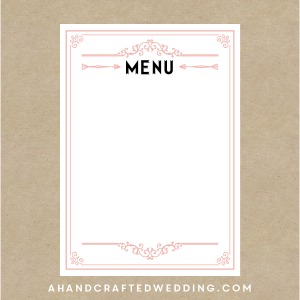 diy blush pink menu template a handcrafted wedding