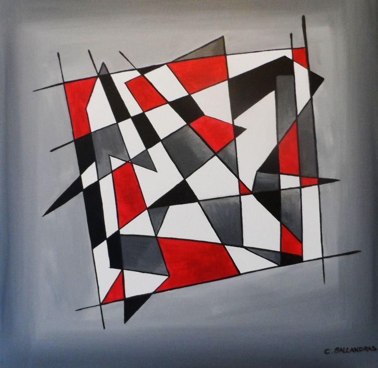 tableau peinture abstrait noir rouge quadrillage formes