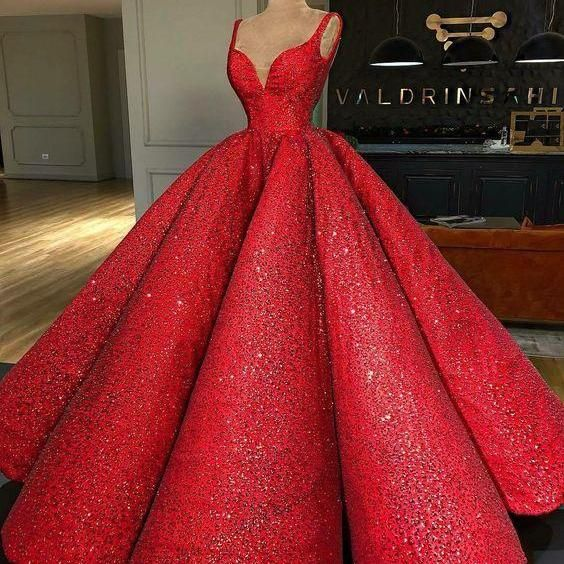 1b0aada713c Ball Gown Sweep Train Red Sequin Prom Dress P2405 on Luulla