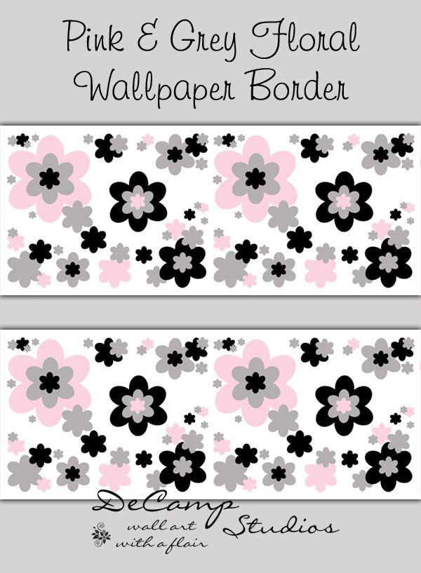 Pink Grey And Black Floral Wallpaper Border Wall Art Decals For Baby Girl Flower Garden Nur Black Floral Wallpaper Floral Wallpaper Border Pink Nursery Decor