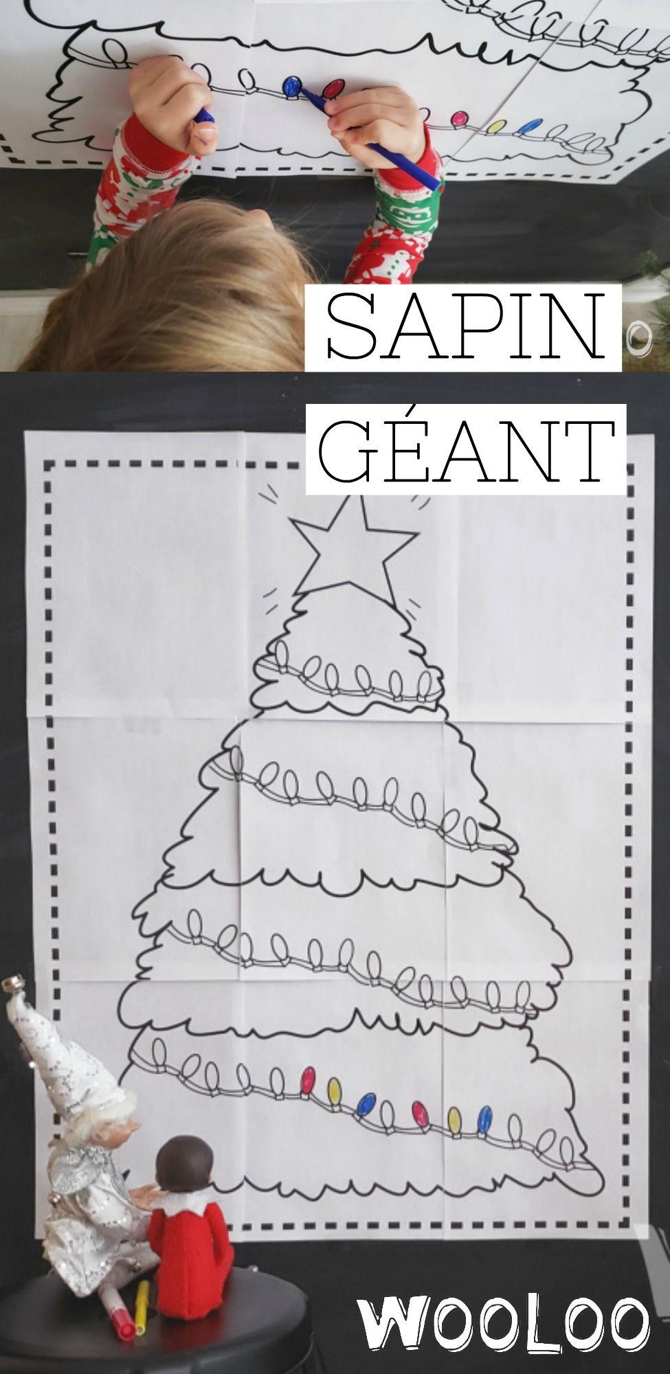 Sapin De Noel Sur Le Mur dessin de sapin géant à imprimer   bricolage noel, dessin