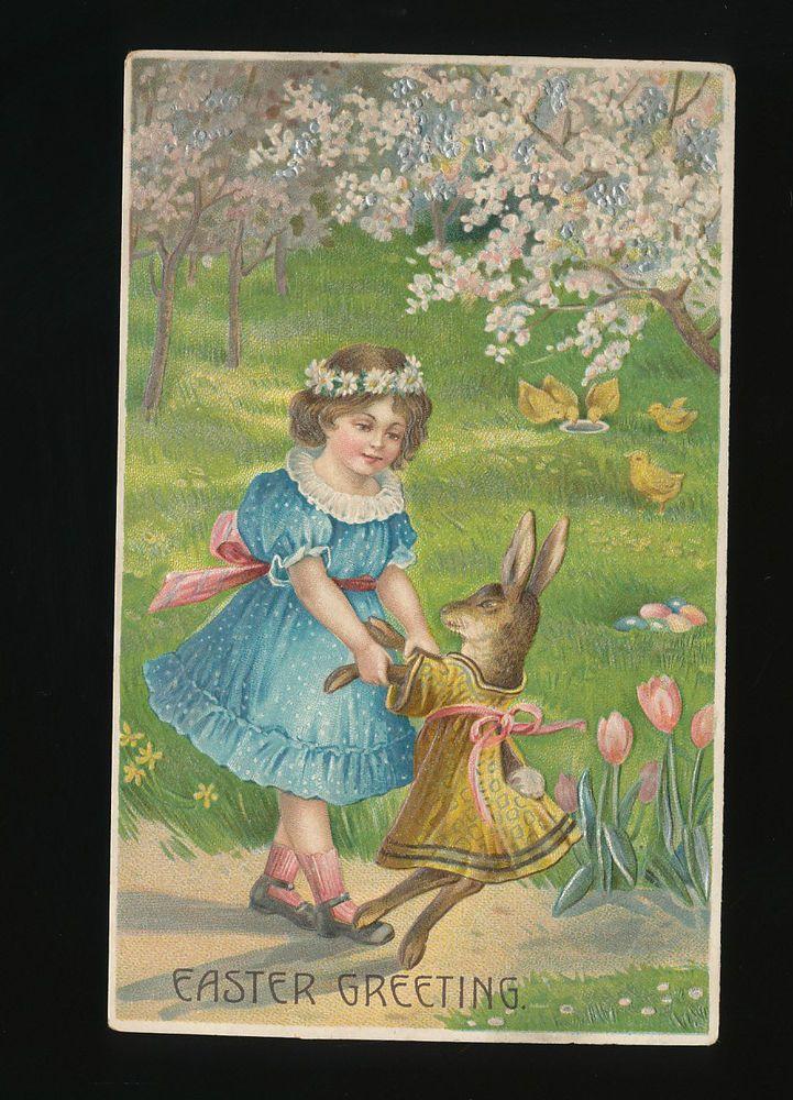 Vintage Easter Dressed  Rabbit + Little Girl Antique Embossed Postcard-kkk412