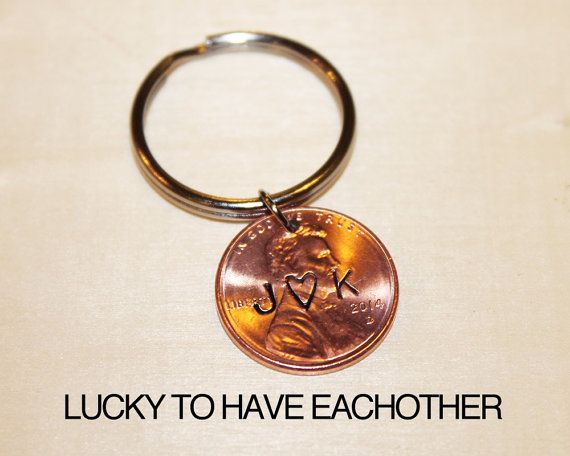 Lucky Wedding Gifts: Custom Penny Keychain, Anniversary Gift, LUCKY To Have
