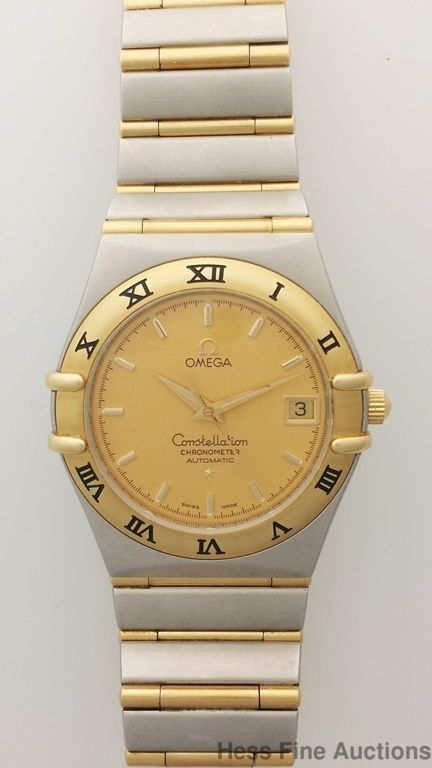 0860856b353 Large Size Omega Constellation 18k Gold Solid Steel Mens Wrist Watch  Omega