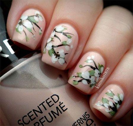 Cherry Blooms Spring Nail Art Designs