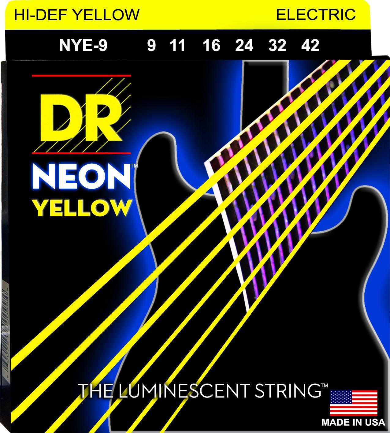 Dr Strings Neon Phosphorescent Yellow Electric Light 9 42 Electric Guitar Strings Guitar Strings Acoustic Guitar Strings
