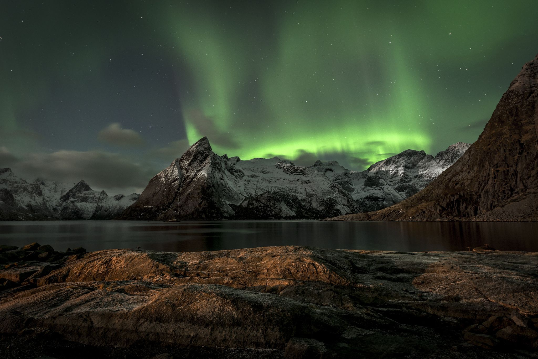 Aurora Borealis, mountains, Lofoten, Norway