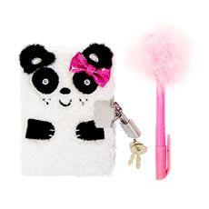 Kids Fluffy Panda Lock Diary with Pen