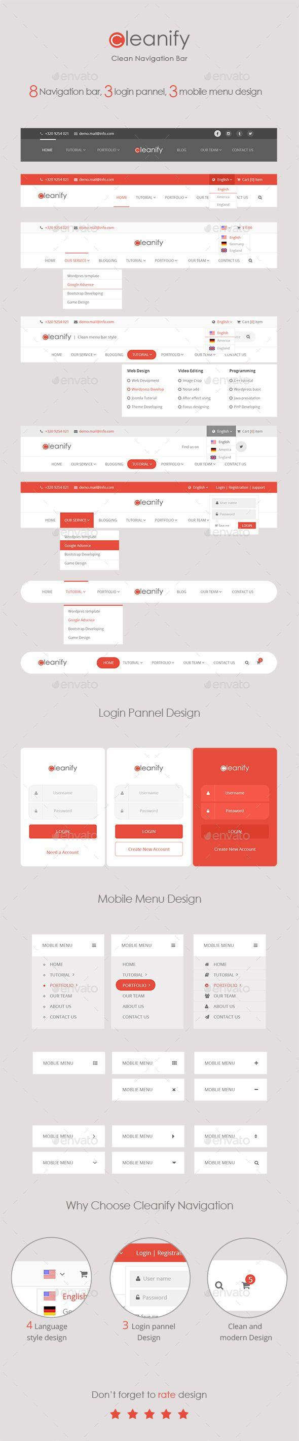 Cleanify Navigation Bar Navigation Bars Web Elements Header Design Web Design Creative Web Design