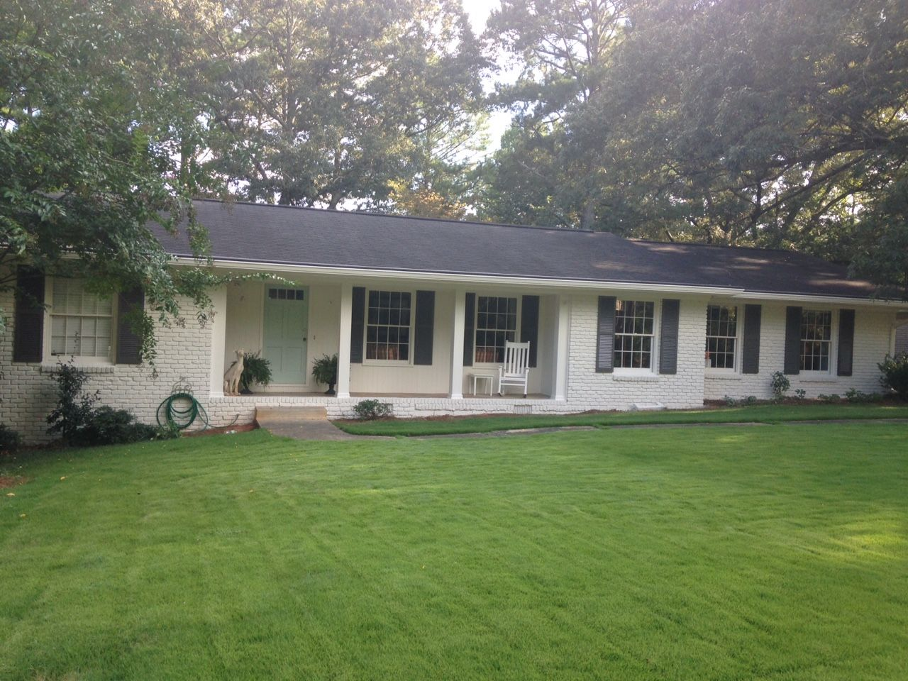 My house is painted paint colors grey brick houses - Benjamin moore gray mist exterior ...