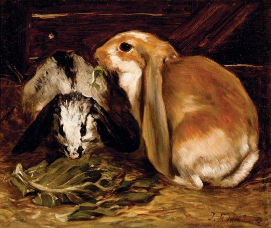 John Emms (British, 1843-1912) - Two rabbits, oil on canvas, 27,9 x 33 cm. 1972.