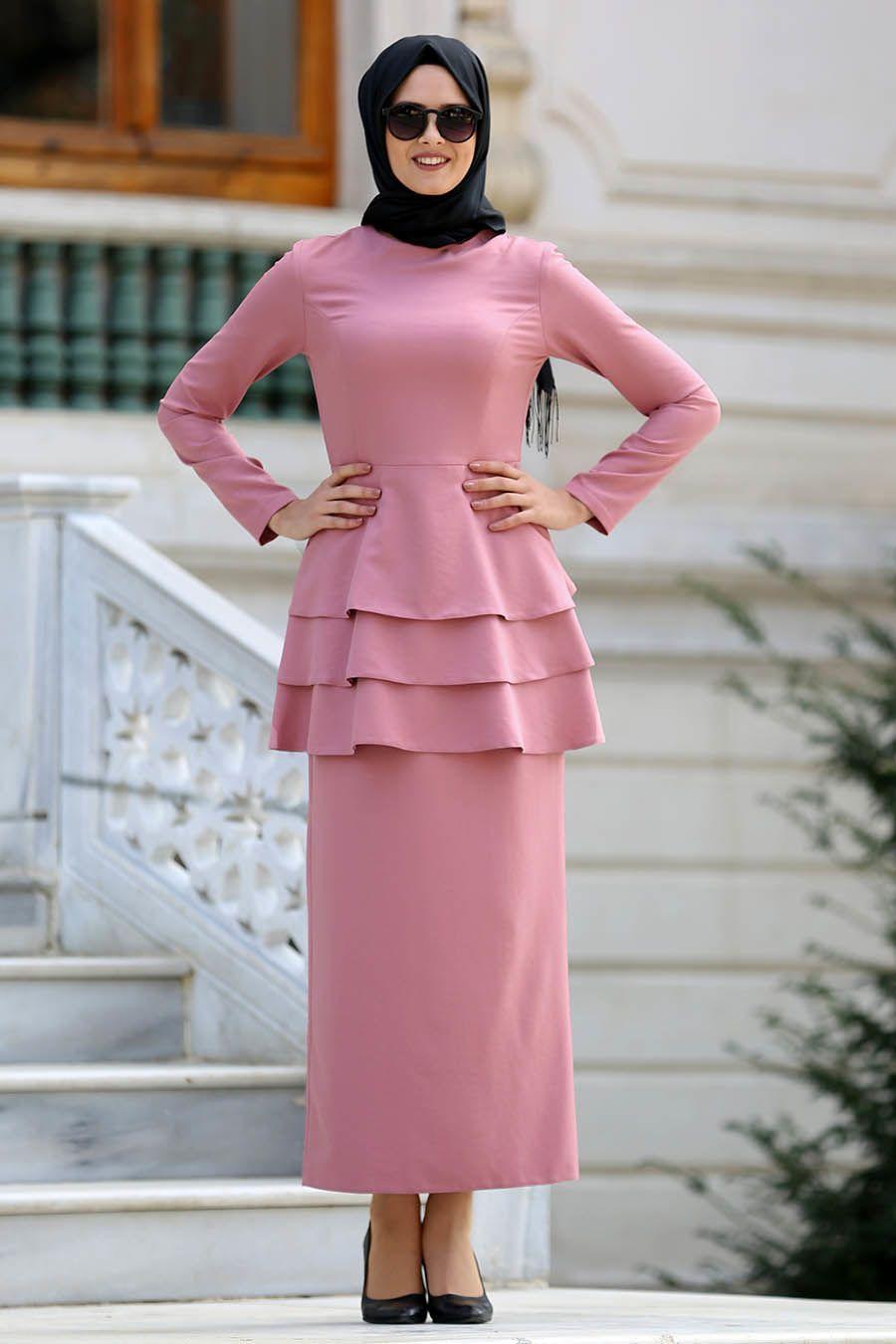 Neva Style Somon Peplum Bluz Etek Tesettur Takim 42050smn Tesetturisland Com The Dress Peplum Moda Stilleri