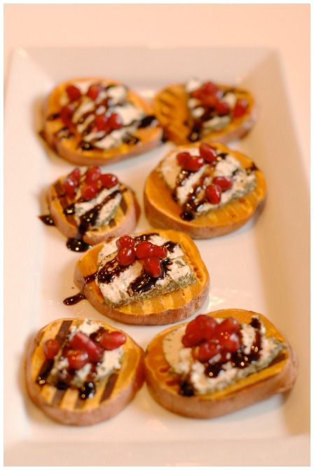 Sweet potato brushetta as a delicious finger food. #SweetPotato #HealthyAppetizers
