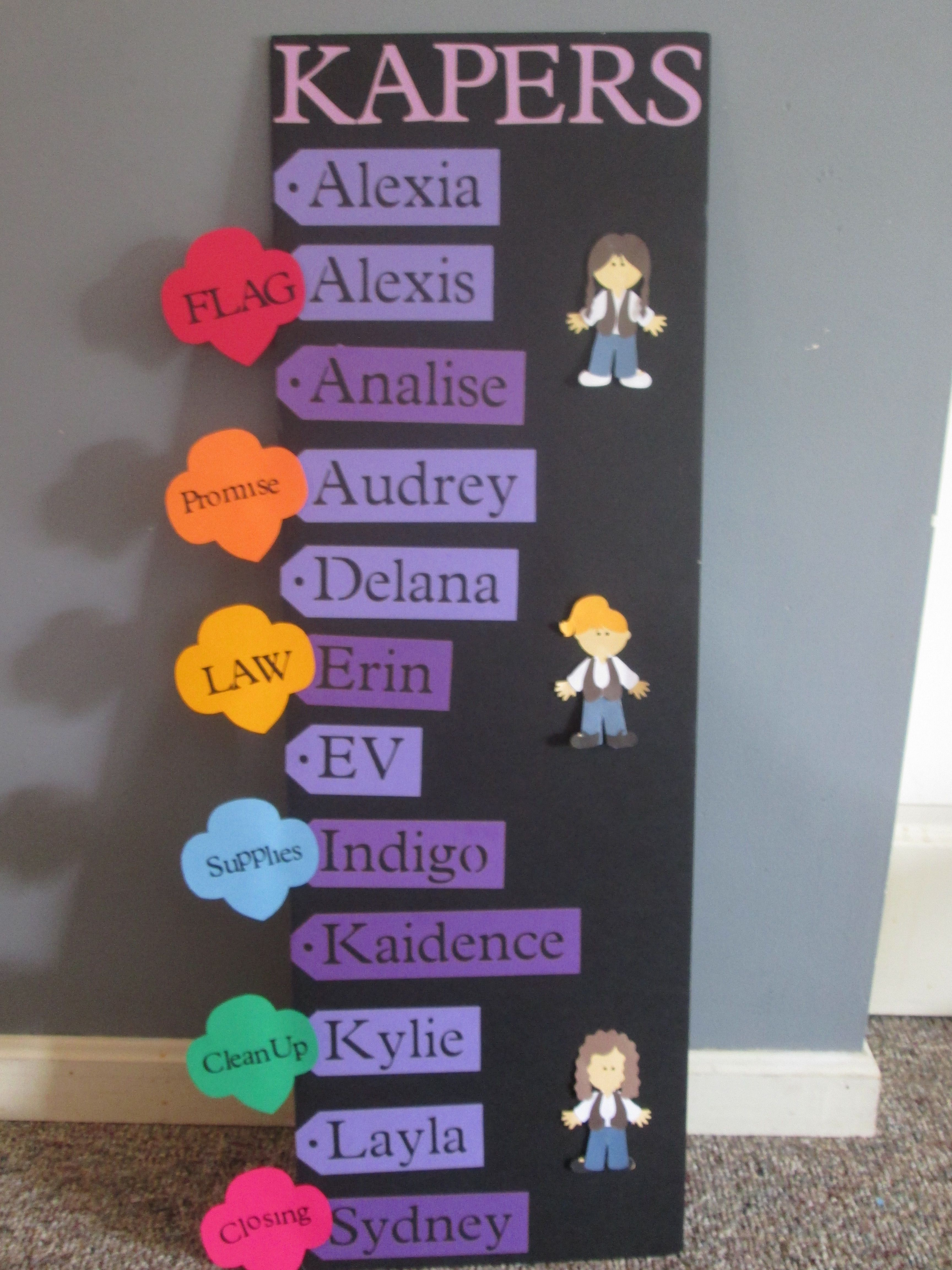 Girl scout kaper chart kapers are hot glued to clothes pins name tags were cut out using  cricut plantin schoolbook cartride paperdolls also done with rh pinterest