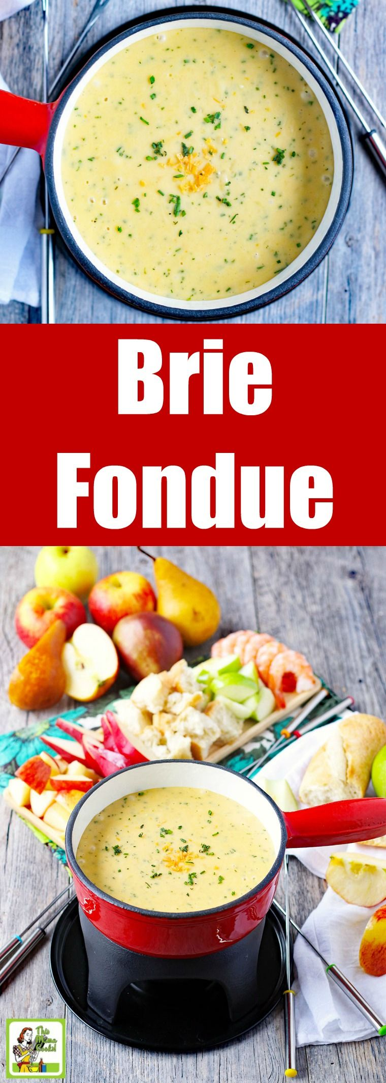 Make A Pot Of Brie Chive Fondue For Your Next Party Or A Romantic Dinner This Brie Fondue Recipe Is Brie Fondue Recipe Cheese Fondue Dippers Fondue Recipes