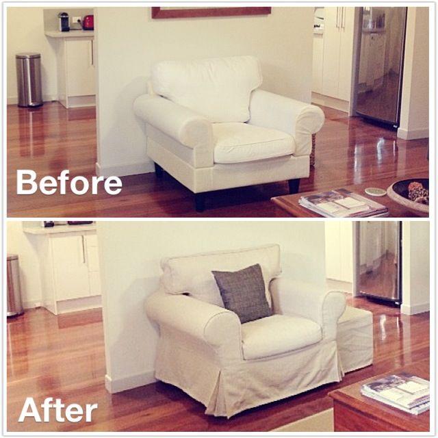 Ektorp Linen Slipcover Before After Comfort Works Custom Sofa Slipcover