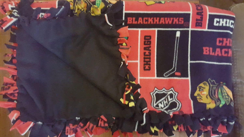 Handmade fleece blanket yd chicago blackhawks blackhawksl