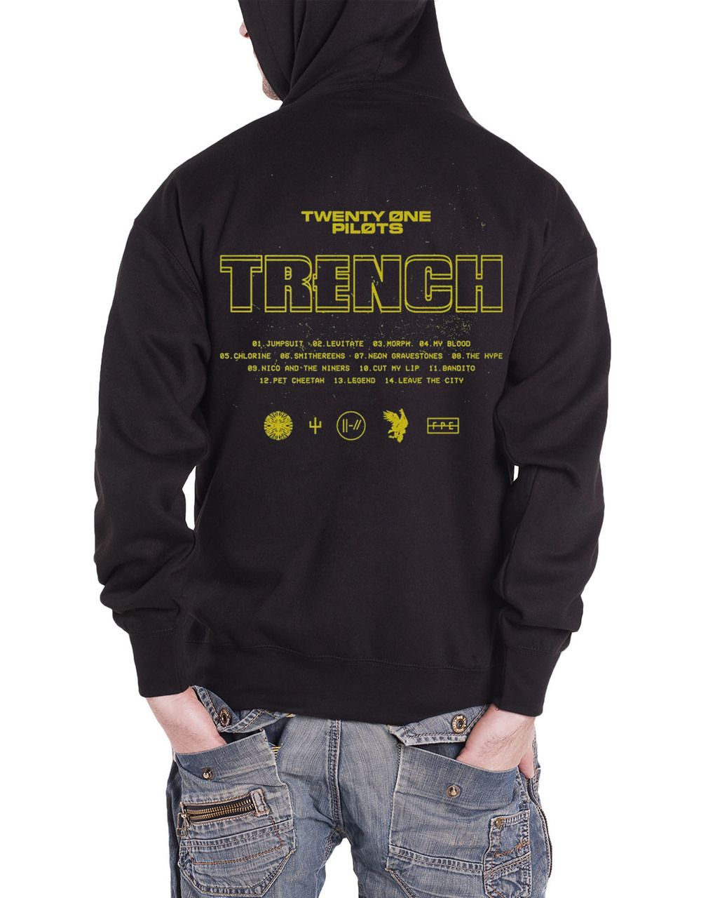fb9d53398 Twenty One Pilots Hoodie Trench Title Mens Black Pullover - Paradiso  Clothing