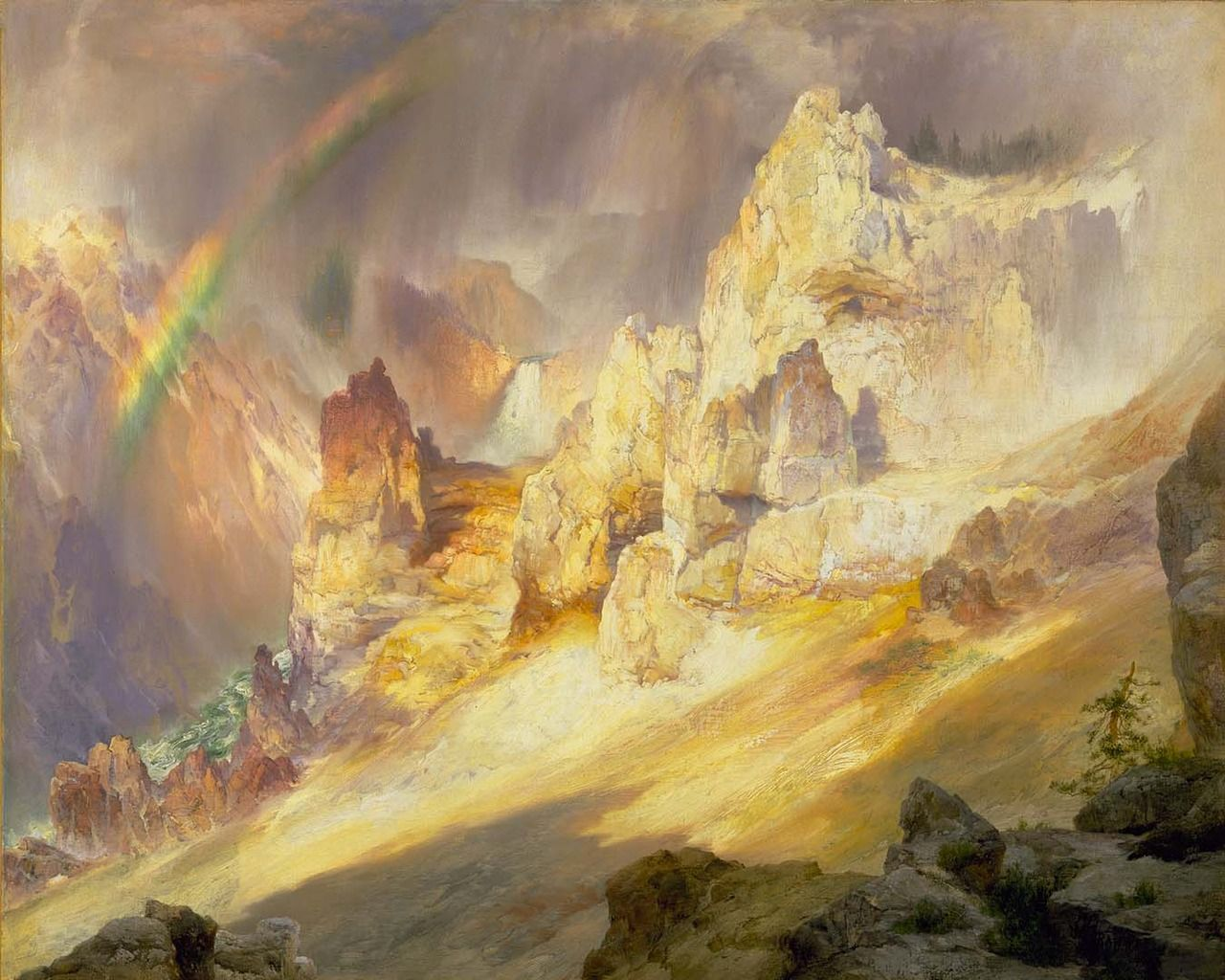 THOMAS MORAN, RAINBOW OVER THE GRAND CANYON OF YELLOWSTONE, 1900 ...