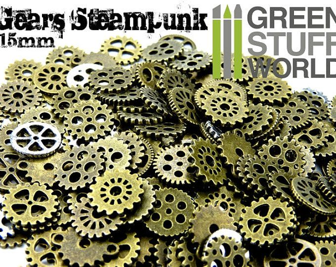 Steampunk Set 85 gr Size-S Cogs and Gears 15mm - Cyberpunk Jewellery