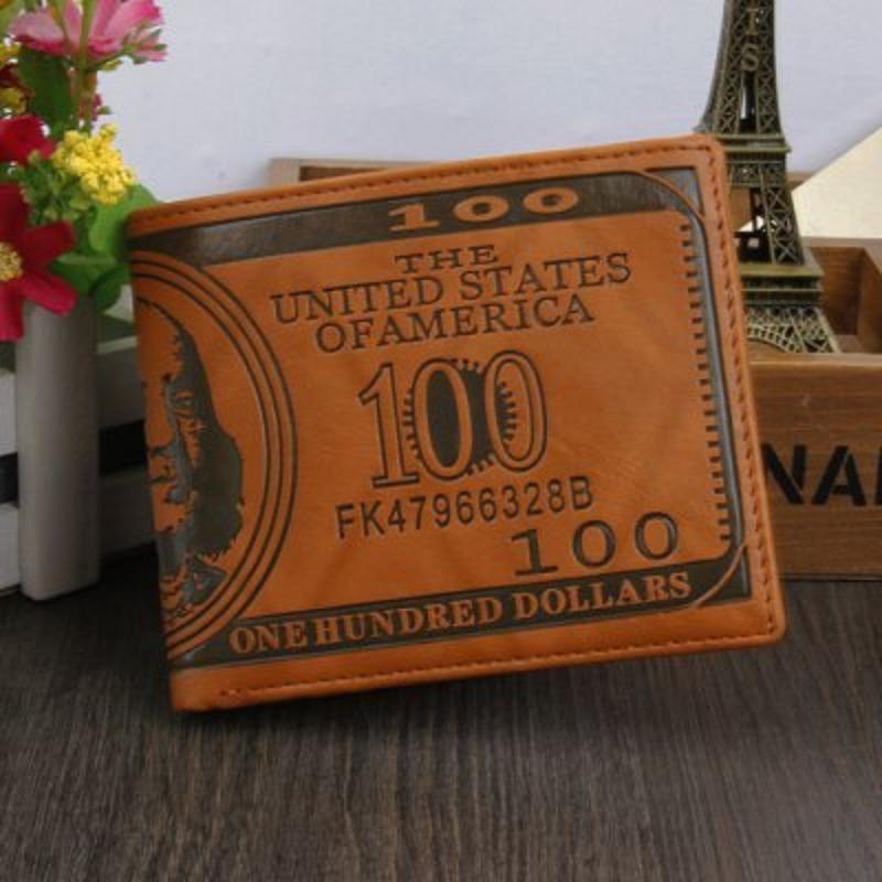 cartera retro de cuero del patrón 100 dólares de EE.UU.