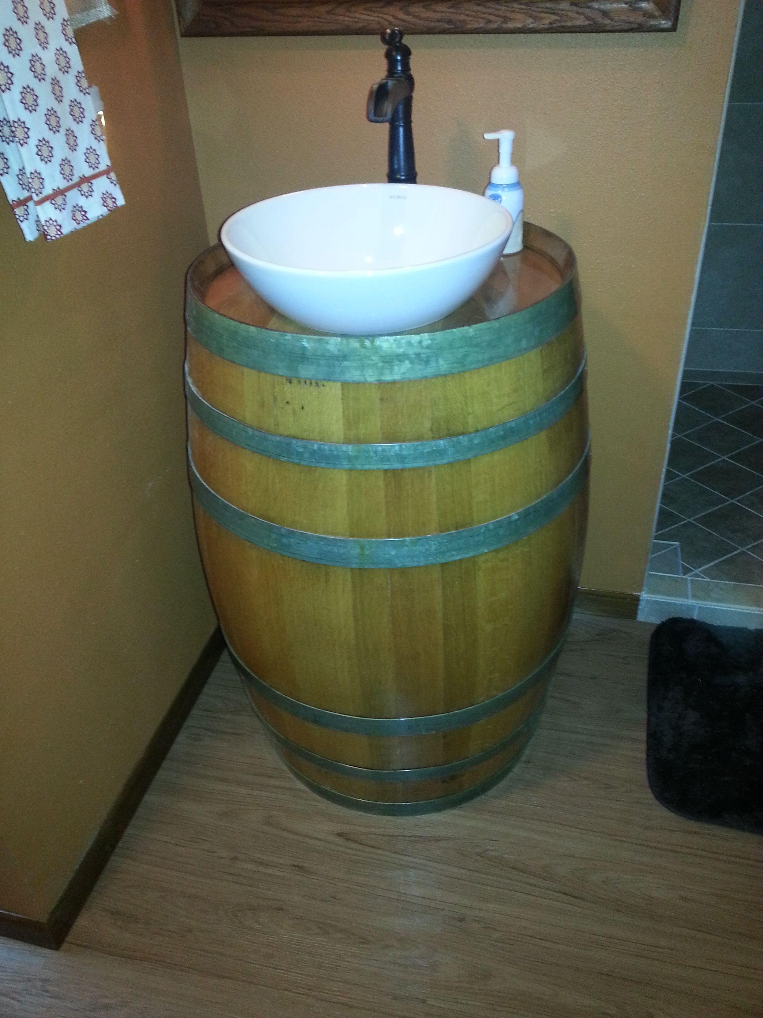 Wine Barrel Vanity With Vessel Sink